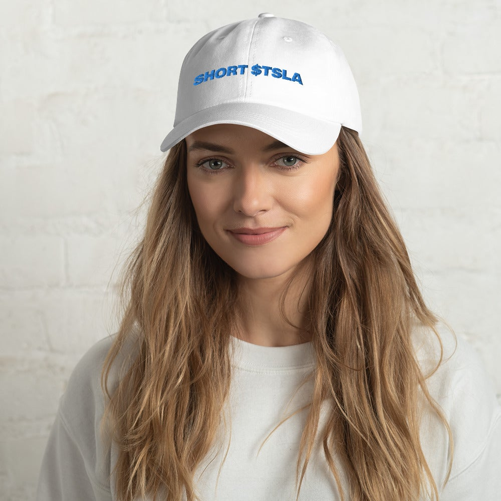 Image of short tesla dad hat (white)