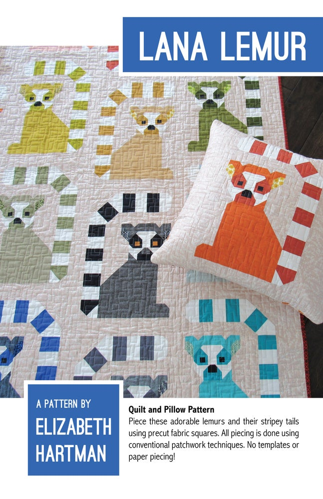 Image of LANA LEMUR pdf quilt and pillow pattern