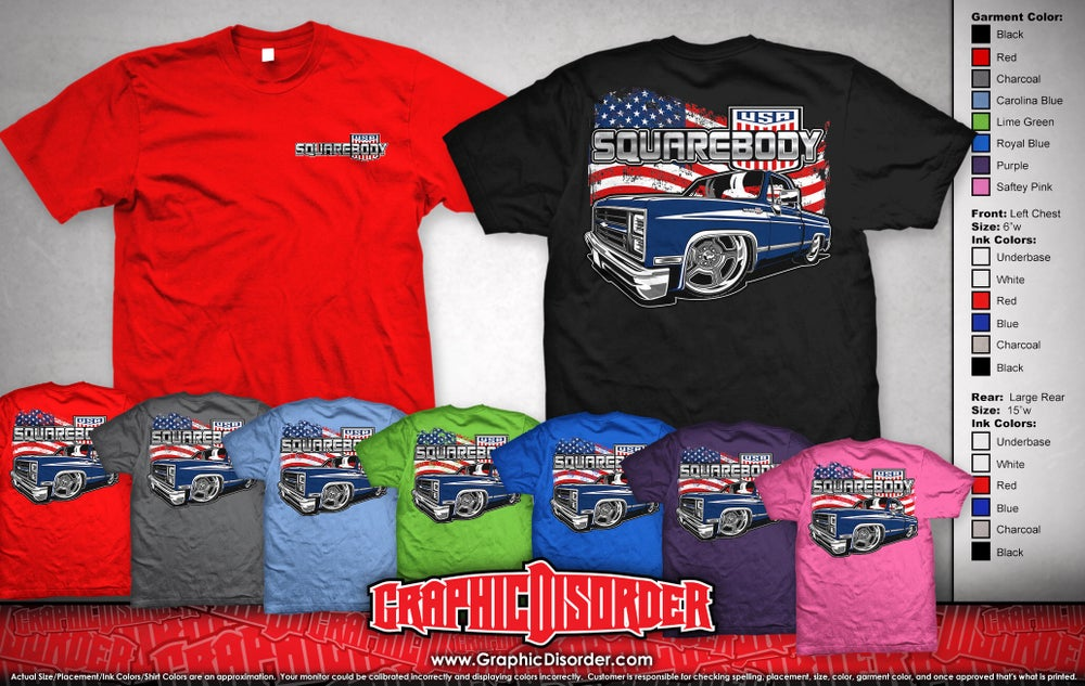 Image of Squarebody USA Flag/Truck