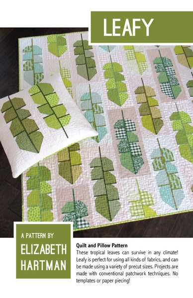 Image of LEAFY pdf quilt and pillow pattern