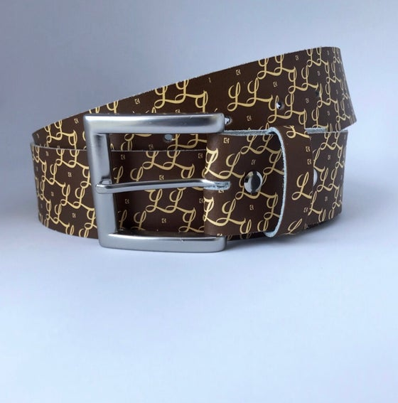 Image of Lapaix Leather Monogram Belt