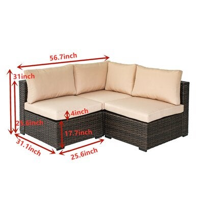 Holliston 3 Piece Rattan Sectional Seating Group With Cushions One Furniture Outlet