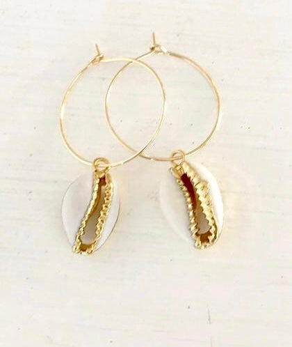 Image of Cowrie dream hoop earrings