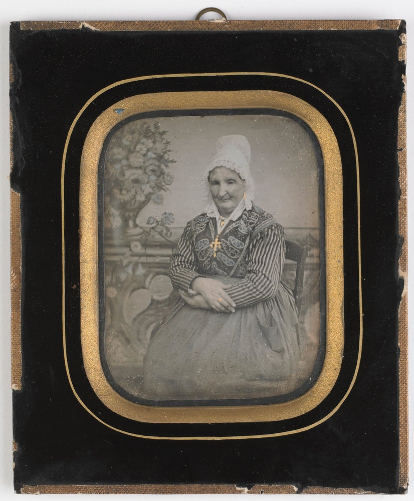 Image of Victor Plumier: woman in traditional French clothes, ca. 1855