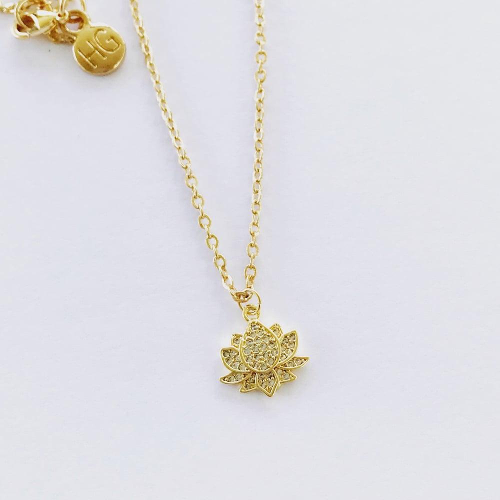 Image of Crystal lotus necklace & hoop earrings