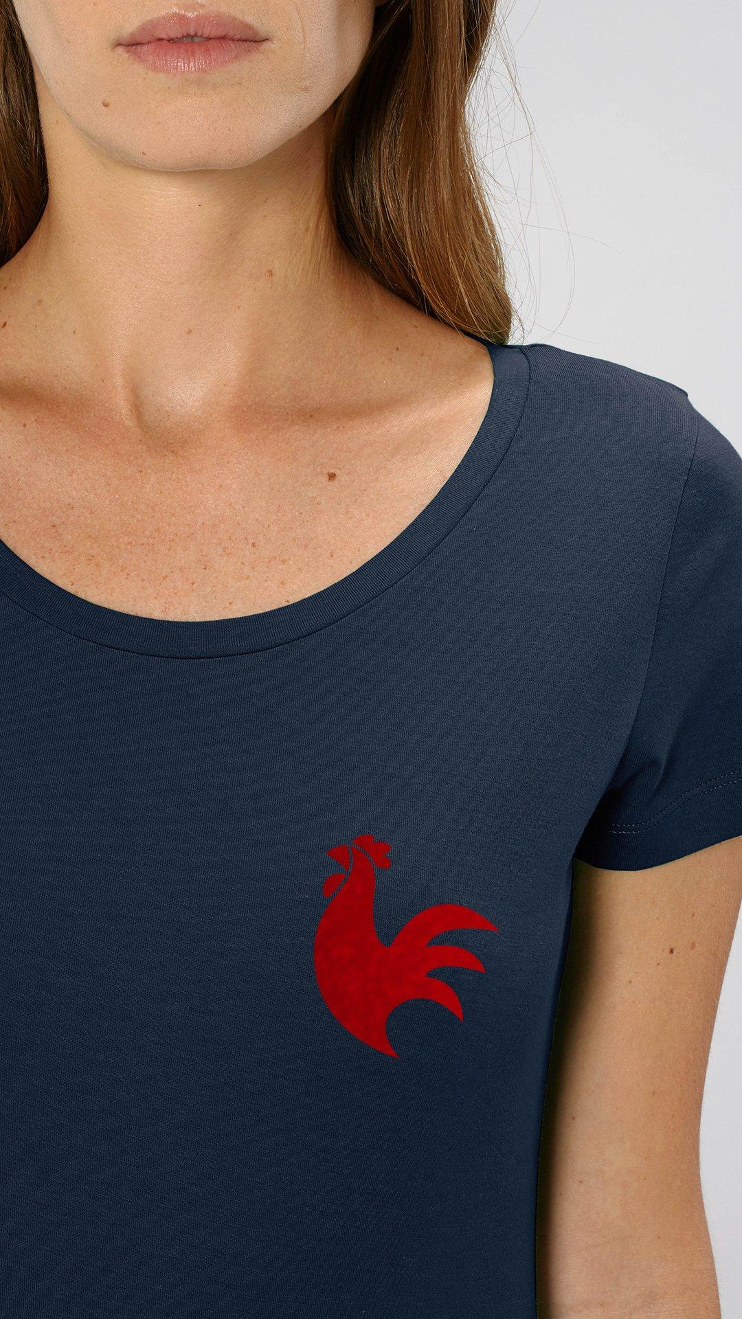 Image of t-shirt COQ - femme, homme et enfant - le t shirt foot x the Simones - bleu NAVY