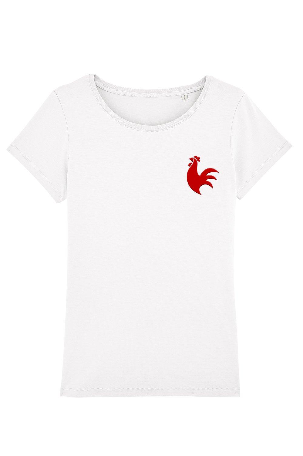 Image of t-shirt COQ - femme, homme et enfant - le t shirt foot x the Simones - blanc