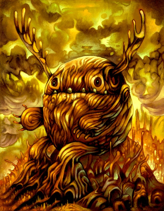 "Image of ""Blood Rainbow Guidepost Sentinel"" Golden Magma Theme Print"