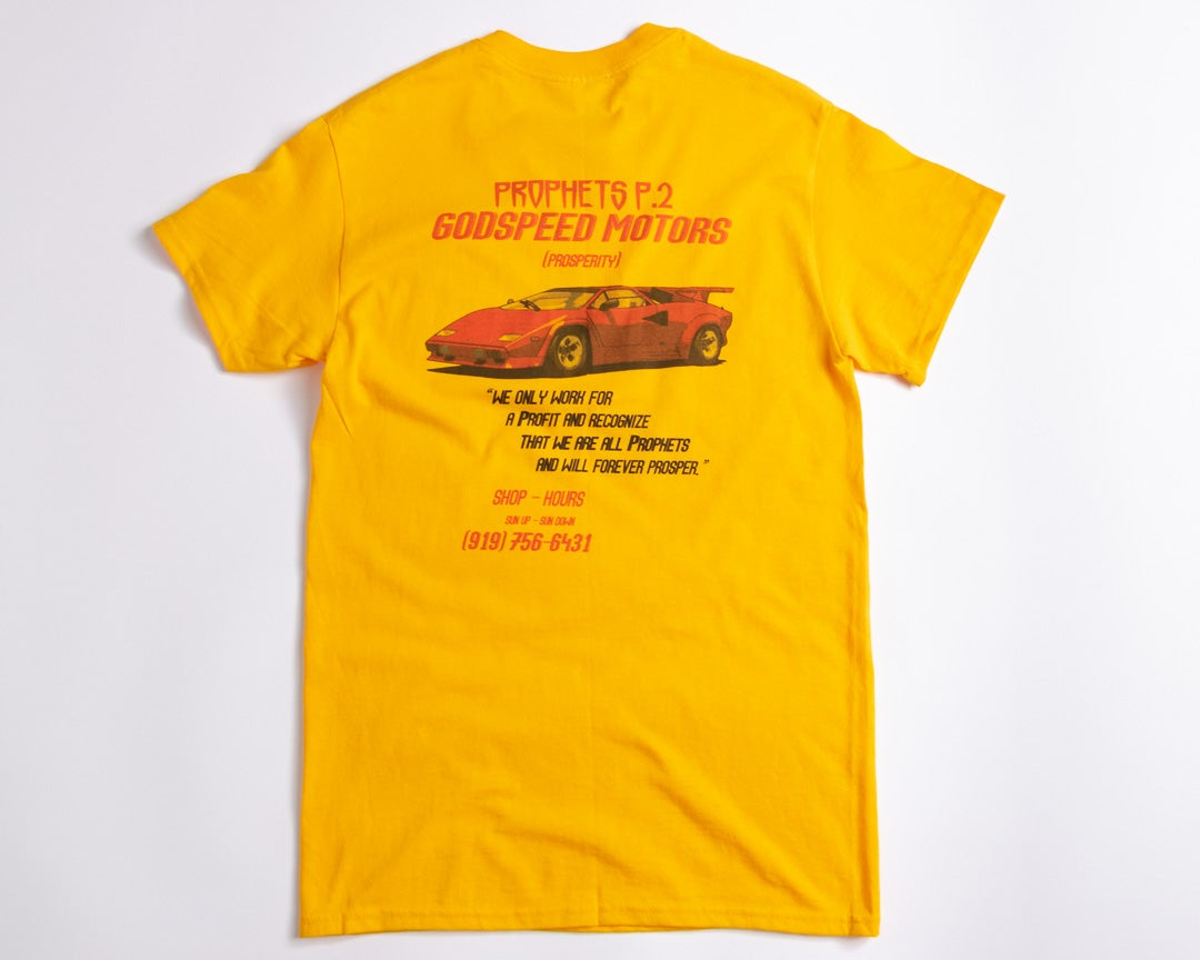 "Image of ""Godspeed Motors"" Tee (Gold)"