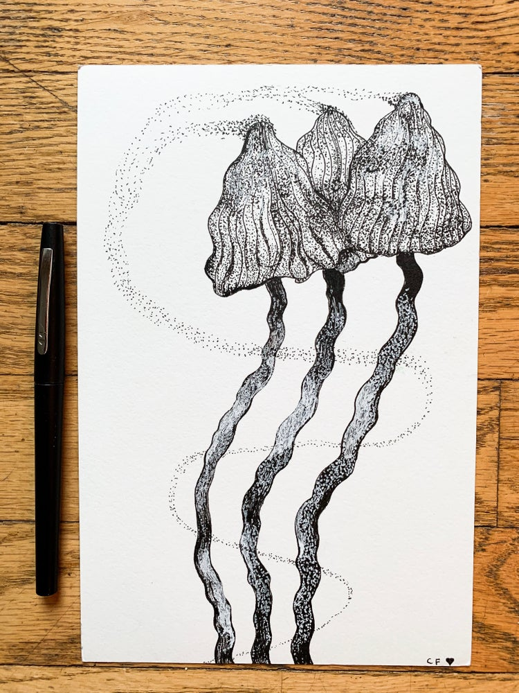 """Image of """"Little Portals"""" Original Pen Drawing 9""""x6"""""""