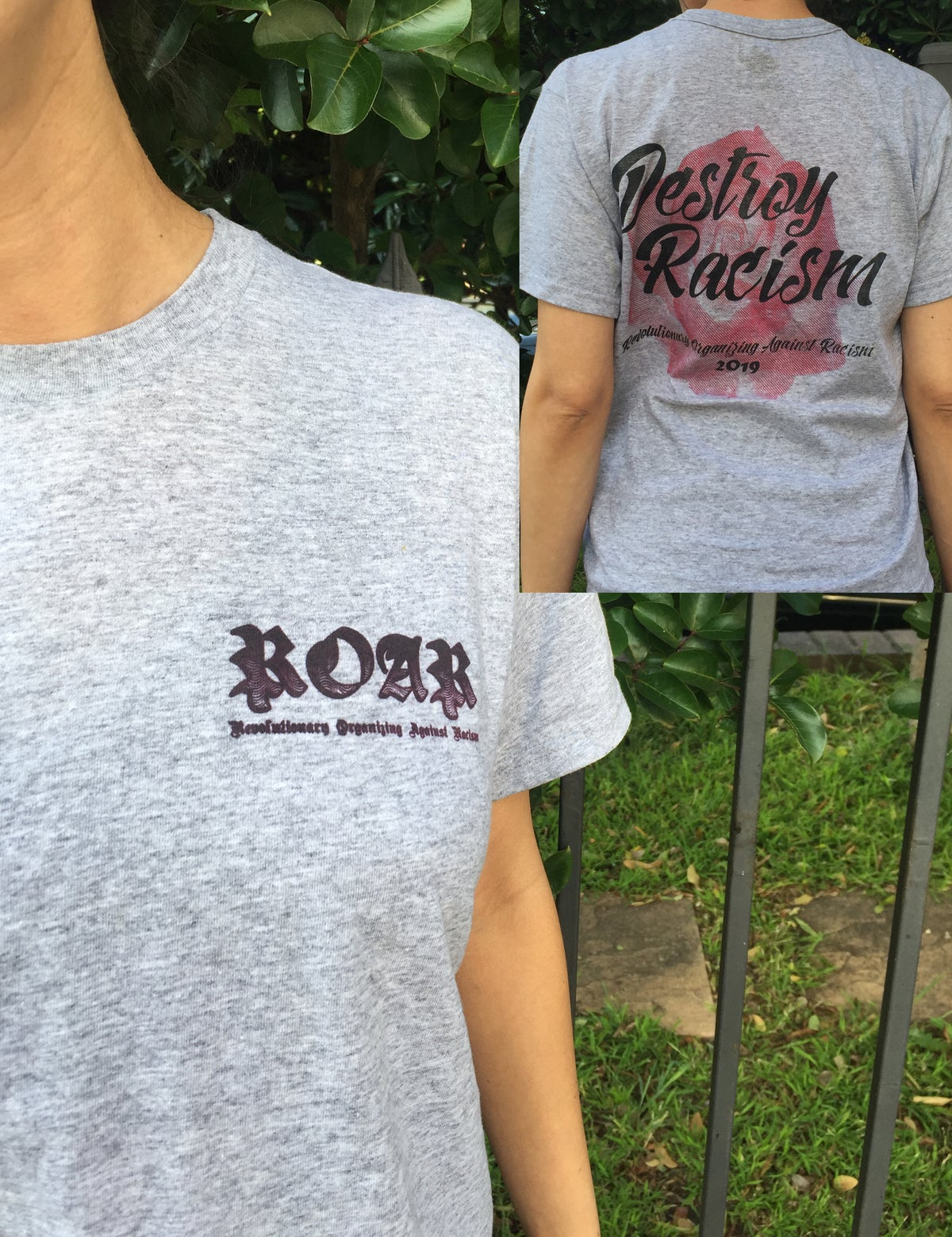 Image of Destroy Racism grey shirts