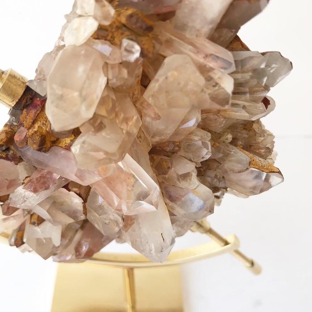 Image of  Pink Quartz no.05 + Brass Arc Stand