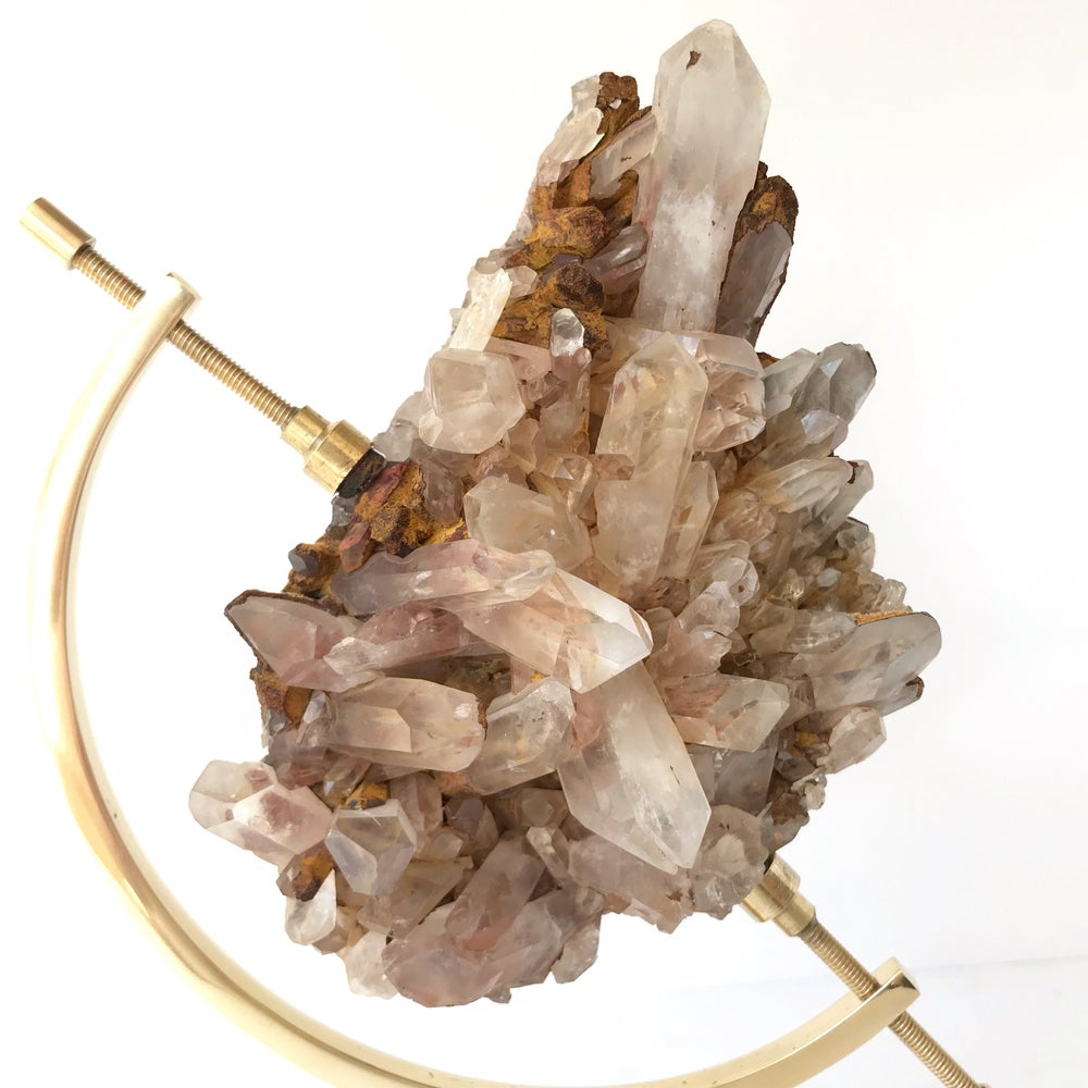 Image of  Pink Quartz no.05 + Brass Arc Stand