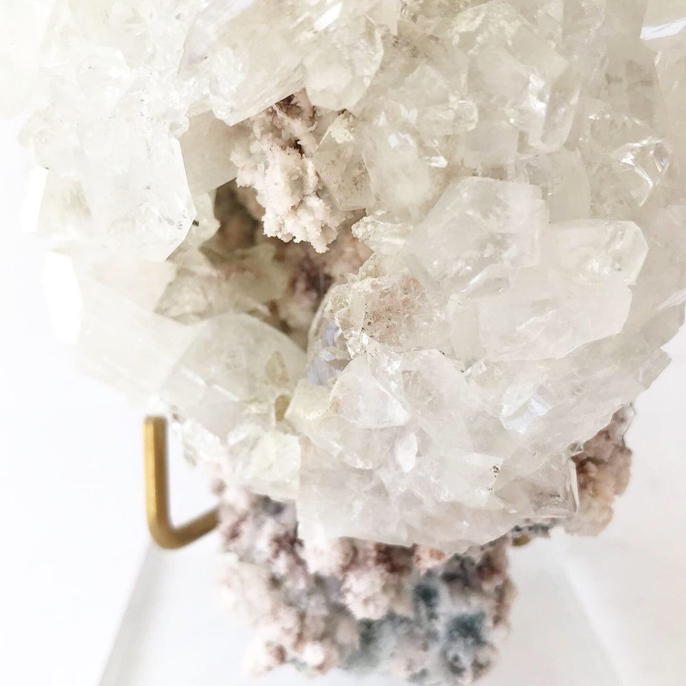 Image of Apophyllite/Stilbite + Lucite and Brass Stand