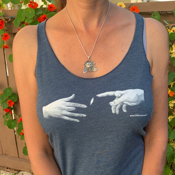 Image of Jerry and Hand of God Creation Racer Back Ladies Tank Top