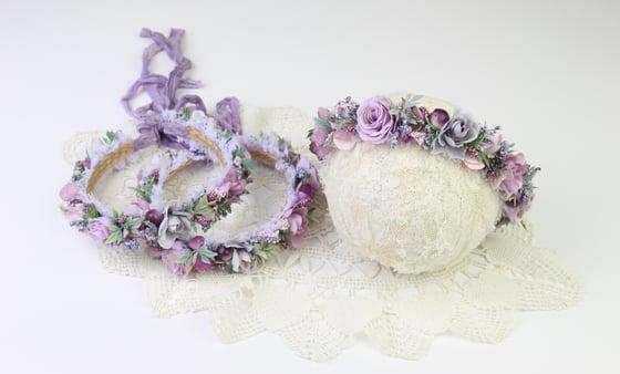 Image of Soft Purple Floral Halo/Silk Tieback
