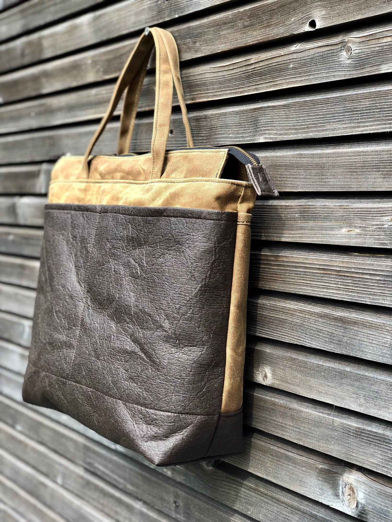 Image of Vegan large tote bag in brown Piñatex™ and waxed canvas office tote laptop tote bag