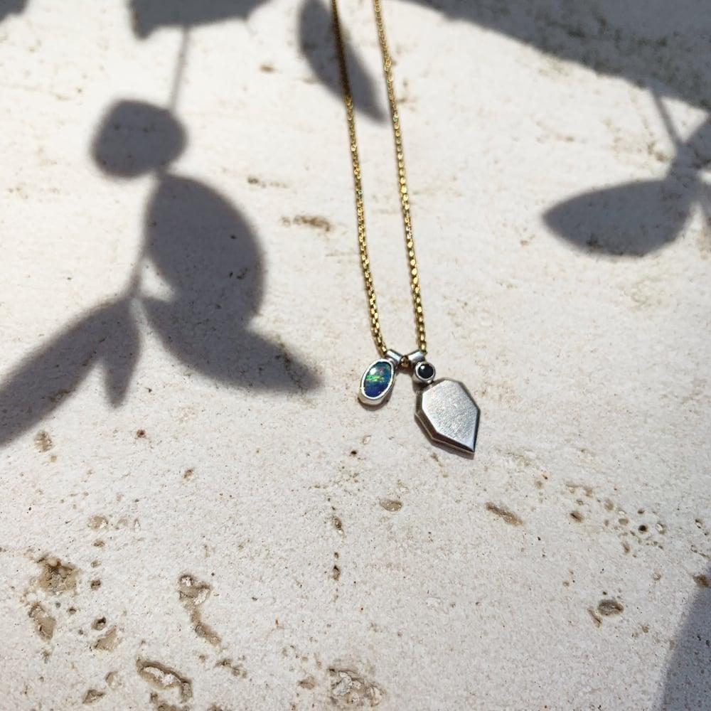 Image of Petit boulder opal black spinel charm necklace