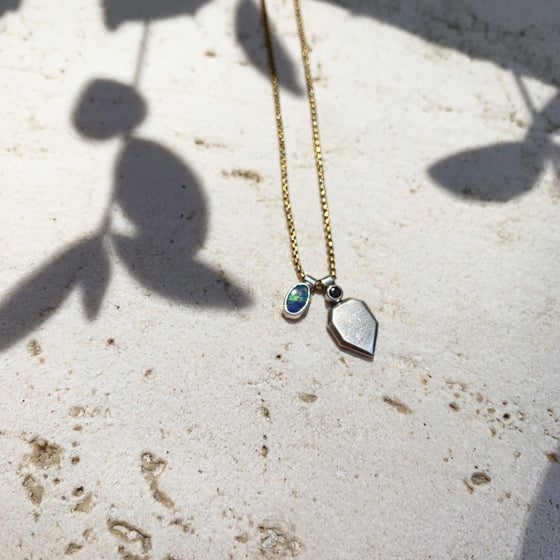 Image of Petit boulder opal black spinel charm necklace