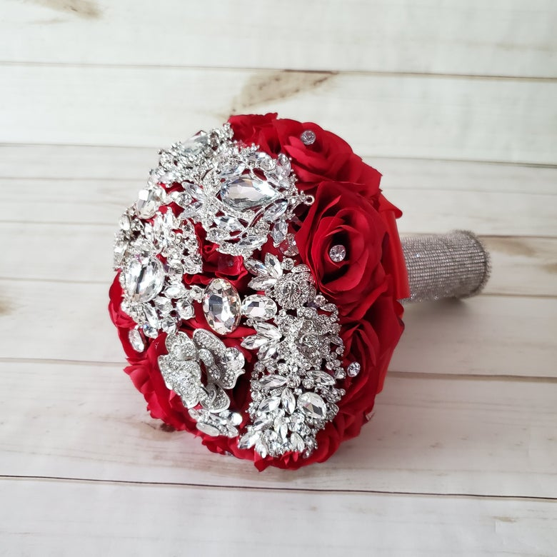 "Image of ""Michelle"" Brooch Bouquet (Available in other colors?"