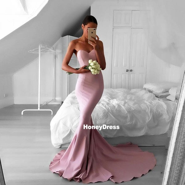0ab46e2b1967 Dusty Rose Sweetheart Mermaid Prom Dresses, Strapless Formal Evening Gowns  With Sweep Train