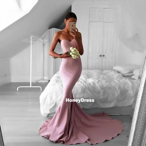 Image of Dusty Rose Sweetheart Mermaid Prom Dresses, Strapless Formal Evening Gowns With Sweep Train