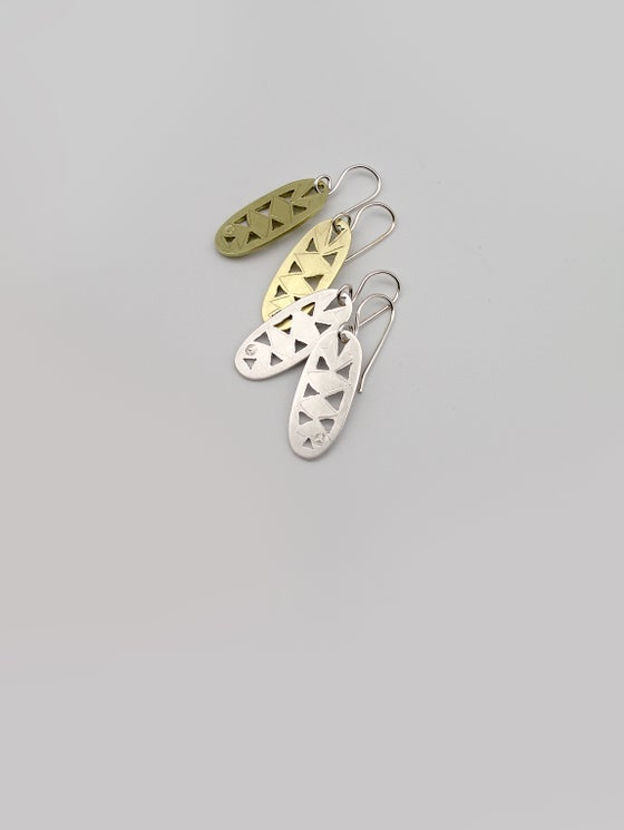 Image of LEAF EARRINGS: BANKSIA GRANDIS OVAL (STERLING SILVER, HANDCUT)