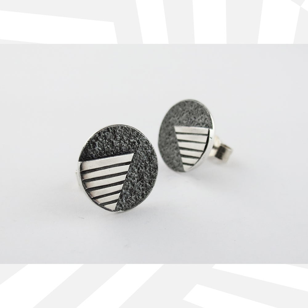 Image of V&A Ear Studs oxidised background