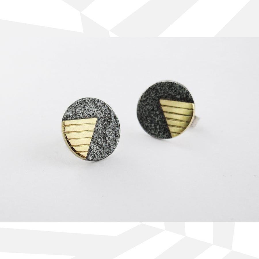 Image of V&A Ear Studs silver and 18ct gold