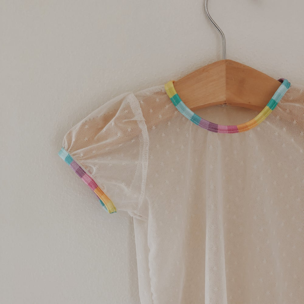 Image of Short Sleeve Sheer Top- Rainbow Cream