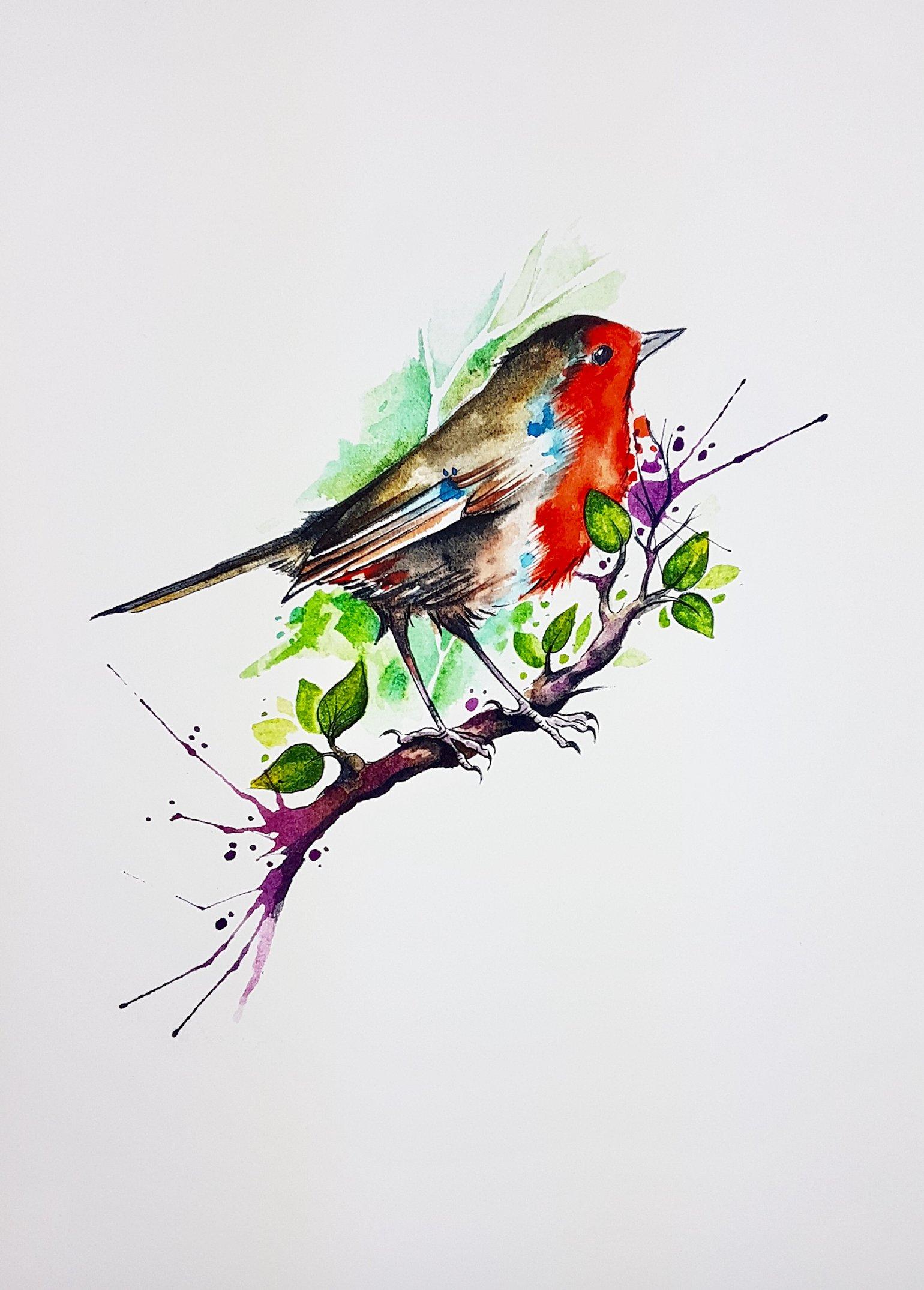 Image of Robin unframed A4 size