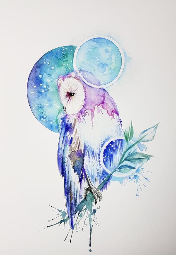 Image of Night Owl unframed A4 size