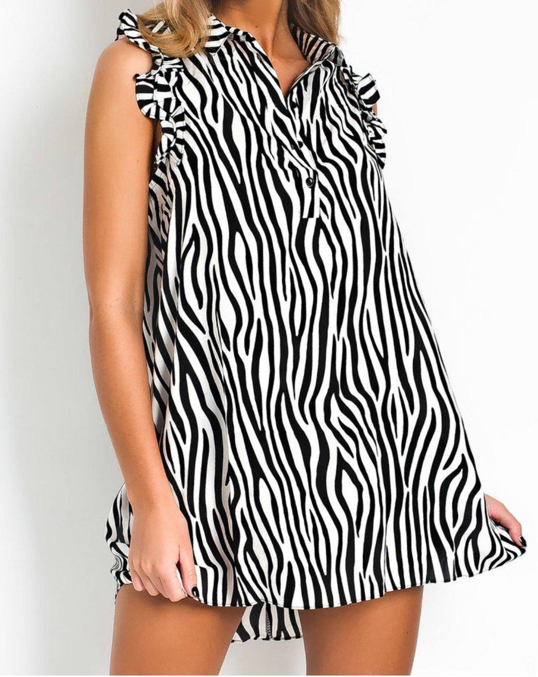 Image of print shirt dress