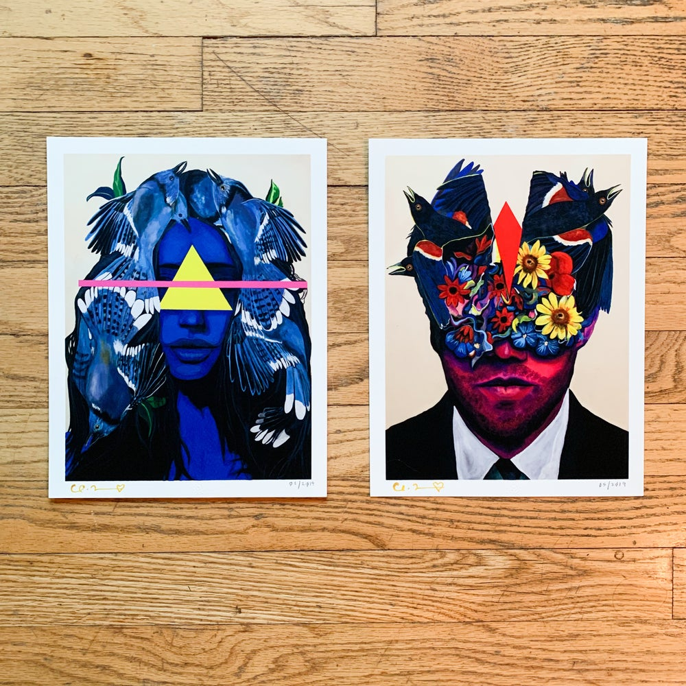 "Image of ""Head Trauma"" Two 8.5"" x 11"" Giclee Fine Art Print Set"