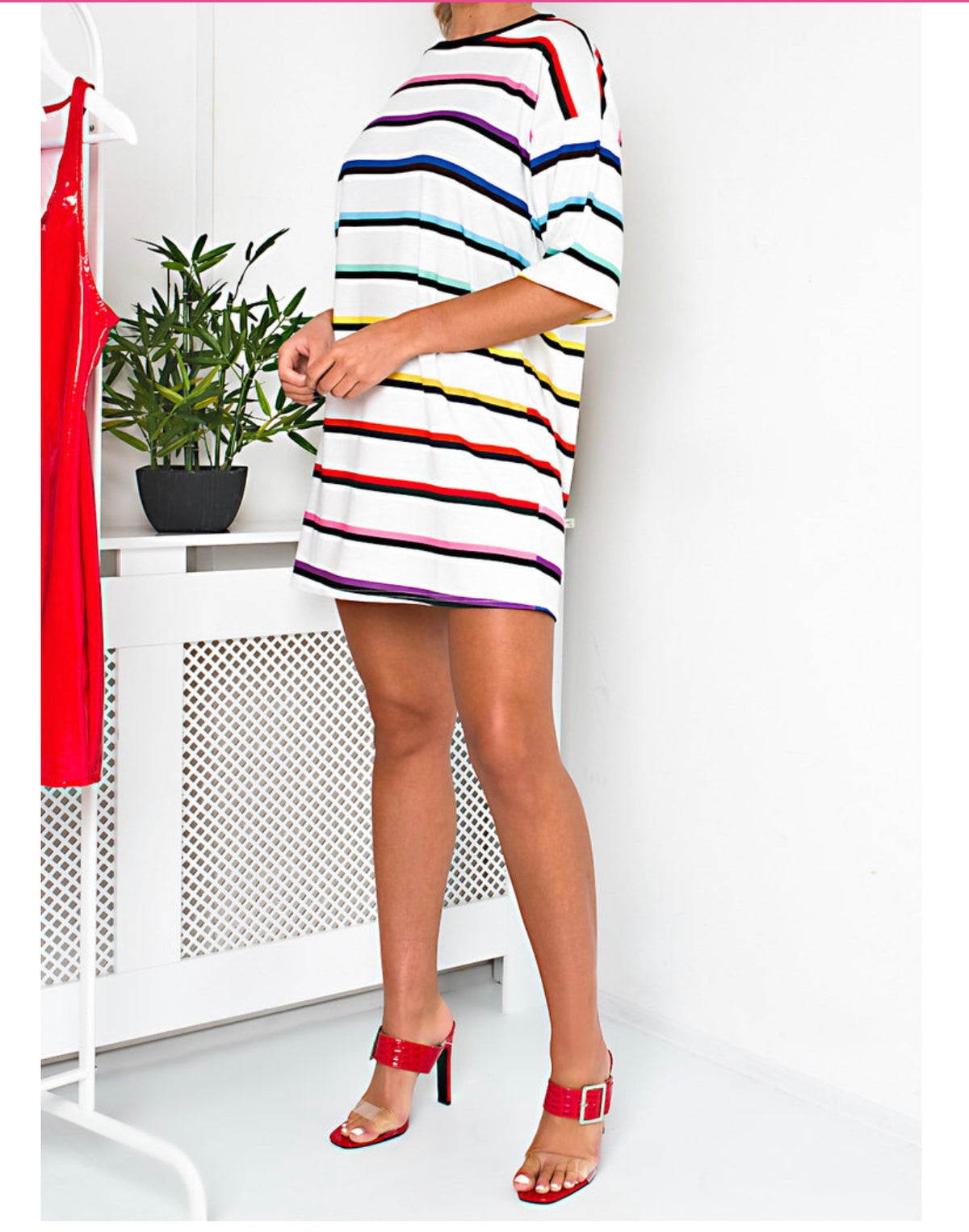 Image of striped over-sized t-shirt dress