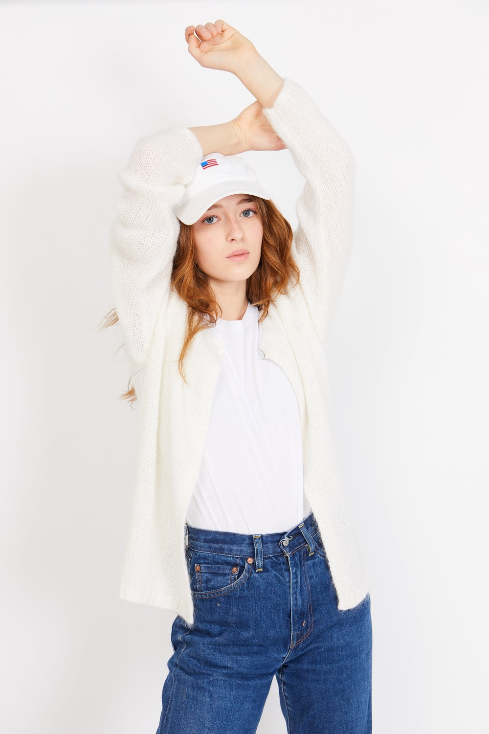 Image of White Cardigan Sweater
