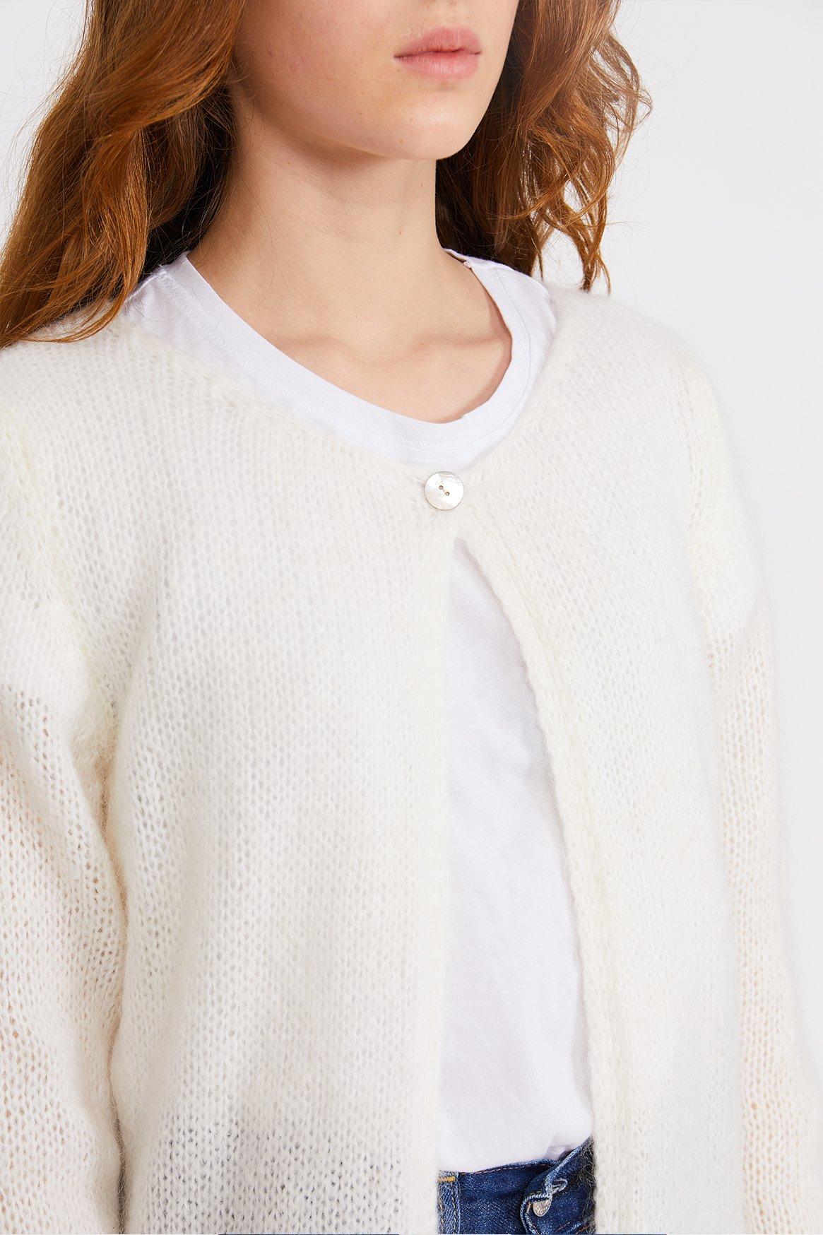 Image of White Cardigan Sweater