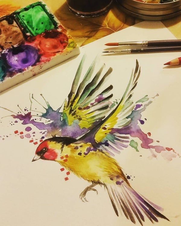 Image of Goldfinch II unframed A4 size