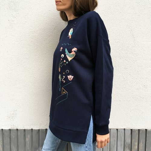 Image of Life after humans, hand embroidered 100% organic cotton sweatshirt in dreamy navy color