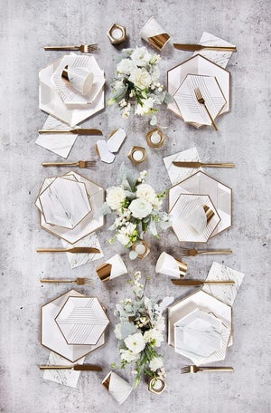 Image of Blanc - Marble and Gold Cocktail Napkin