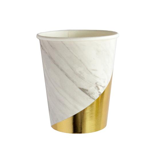 Image of Blanc - White and Gold Colorblock Cups