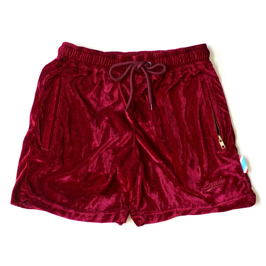 "Image of LANSI ""Moss"" Lazy Shorts (Burgundy)"