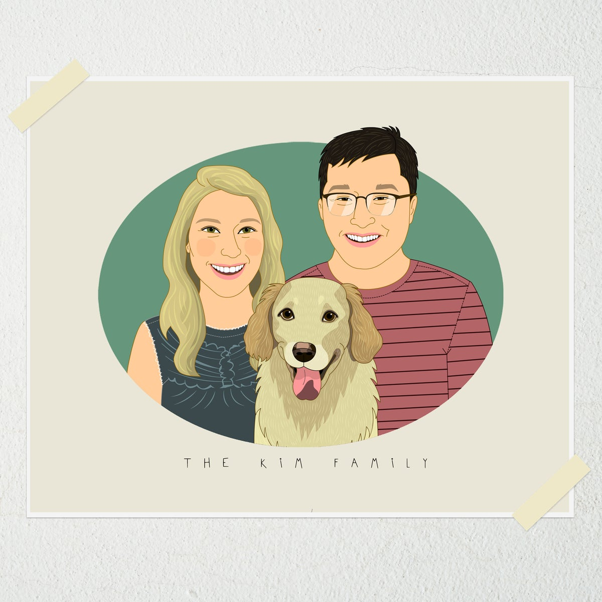 Image of Custom couple portrait with one pet.