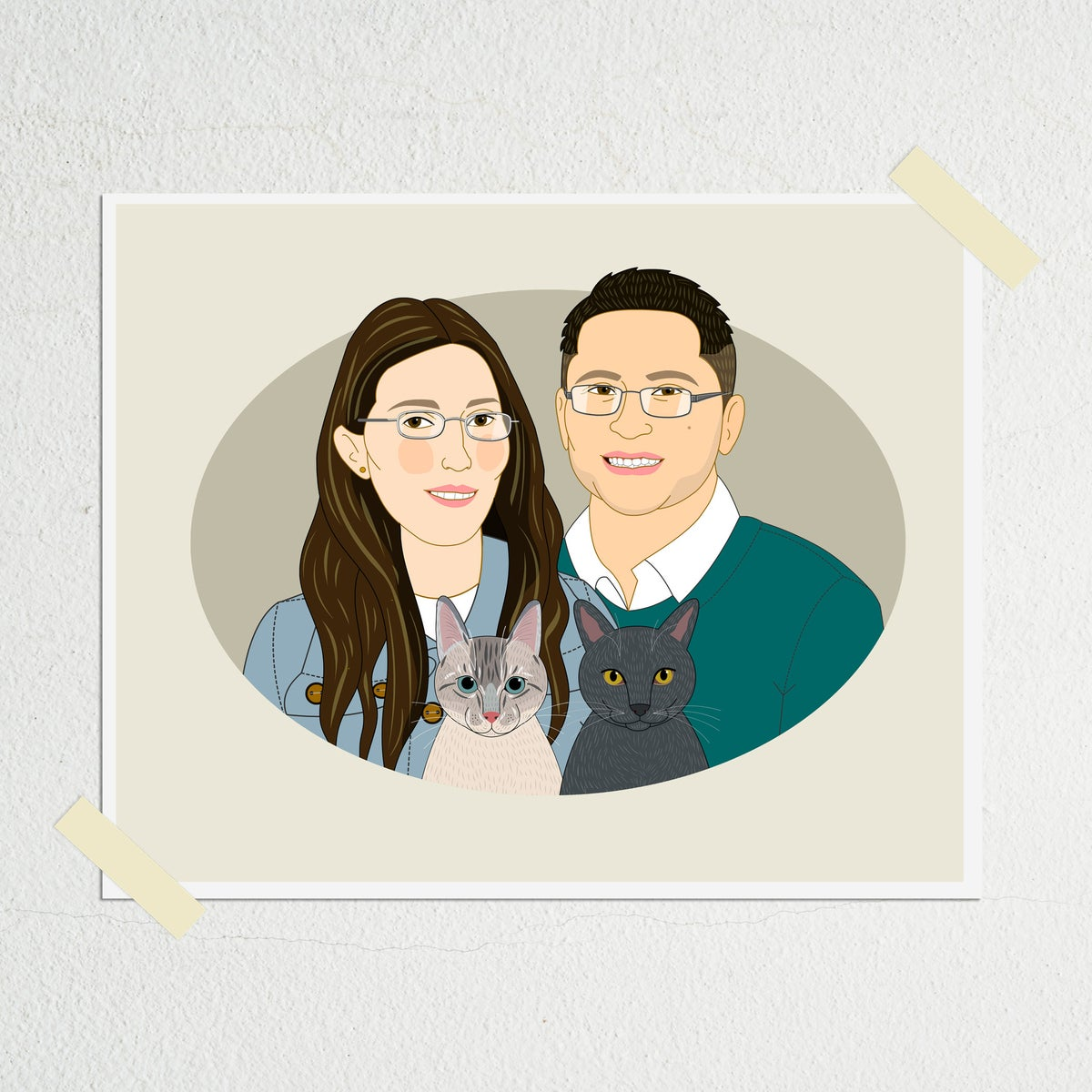 Image of Couple's portrait with 2 dogs or cats.