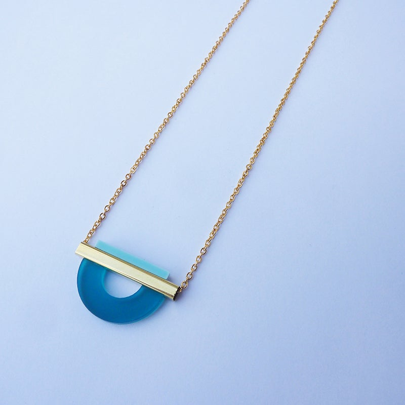 Image of Drop Curve Necklace Teal & Pale Blue