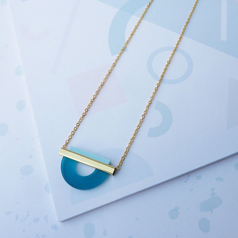 Image of *NEW* Drop Curve Necklace Teal & Pale Blue