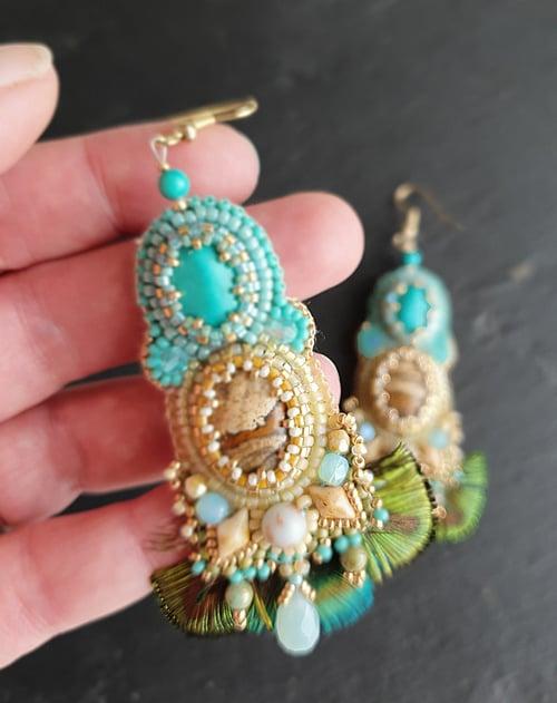 Image of Boucles d'oreilles PAVANE IN BLUE