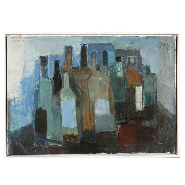 Image of Large, Mid-Century, Still Life, 'Bottles,' Lennart Rosensohn