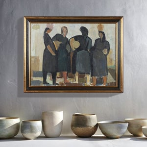 Image of Mid-century Painting, 'Four Women,' Lennart Rosensohn
