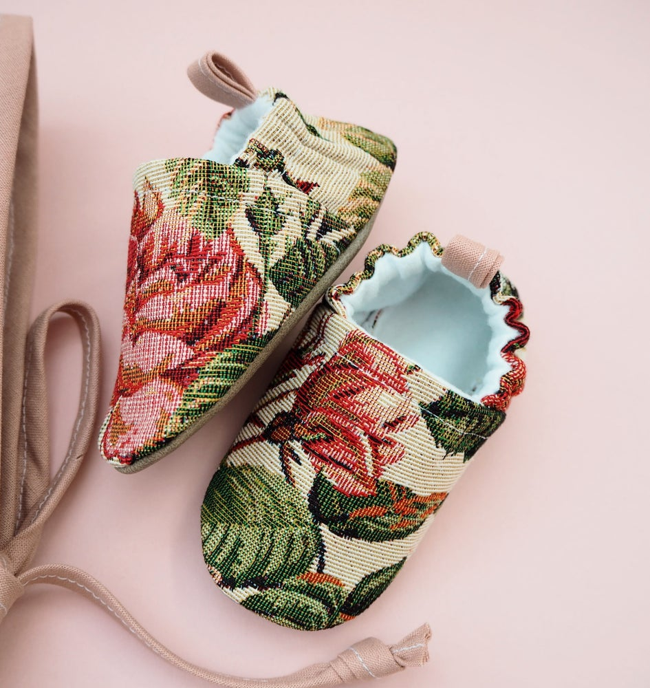 Image of Tapestry vintage floral handmade baby shoes
